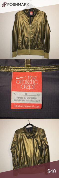 Nike Wind Breaker Nike Athletic Department Windbreaker Jacket Shiny Gold NYLON Lg Gentle used with no stains Like New Size LG Nike Jackets & Coats