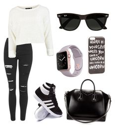 """Untitled #55"" by unicornlovers1 ❤ liked on Polyvore featuring Topshop, adidas, Givenchy, JFR and Ray-Ban"