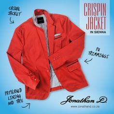 Introducing Jonathan D's Crispin Jacket. Made from a cotton fabrication, this on-trend casual jacket brings the laid-back luxe thanks to its fitted cut, classic lapel, collar and pocket detailing. Carefully crafted with a striped fabric lining, the jacket also features floral inner tape and comes in a summer-ready sienna colourway. Red Blazer, New Trends, Tape, Rain Jacket, Windbreaker, Bring It On, Pocket, Summer 2014, Classic