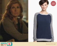 Rayna's blue and grey contrast sleeve sweater on Nashville. Outfit Details: http://wornontv.net/23746 #Nashville