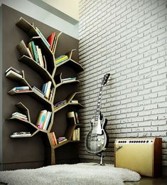 Modern Bookshelves Design with Tree Branch Collections
