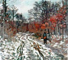 """artist-monet: """"Path through the Forest, Snow Effect, Claude Monet """" Pierre Auguste Renoir, Pierre Bonnard, Monet Paintings, Impressionist Paintings, Landscape Paintings, Chagall Paintings, Abstract Paintings, Painting Art, Claude Monet"""