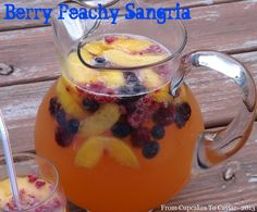 Wine, peach schnapps, fruit and a bit more combine to make one heck of a good homemade sangria!  Berry Peachy Sangria-  http://www.fromcupcakestocaviar.com/2013/06/10/berry-peachy-sangria/