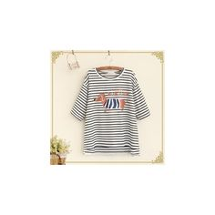 Dog Print Striped Short Sleeve T-Shirt ($18) ❤ liked on Polyvore featuring tops, t-shirts, tees, women, white stripes t shirt, striped tee, short sleeve tee, stripe tee and white cotton tee
