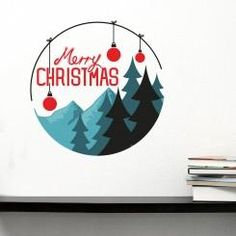 Merry Christmas Tondo Alberi Wall Sticker Adesivo da Muro