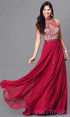 Long Burgundy Red Sleeveless High-Neck Prom Dress at PromGirl.com