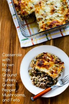 Casserole with Brown Rice, Ground Turkey, Green Pepper, Mushrooms, and Feta