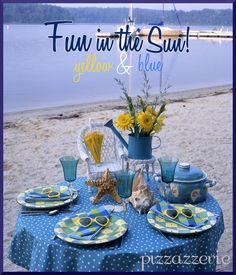 Image detail for -easy with beach dinnerware sets and beach table decor accessories Kids Beach Party, Beach Kids, Beach Fun, Beach Table Decorations, Beach Wedding Tables, Fresco, Beach Picnic, Tea Party, Party Fun