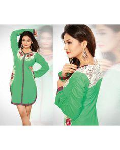 Designer Georgette Green Kurti Cum Dress