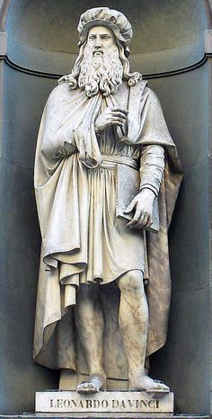 Leonardo da Vinci (statue outside the Uffizi gallery), Florence, Italy.