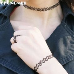 Hot black braided fishing line double elastic tattoo necklace bracelet ring three-piece jewelry for women