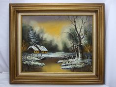 Bodner Oil on Canvas Painting Scenic Landscape Winter Cabin on River Snow