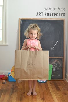 Make a portfolio from a brown paper bag to store your child's art.