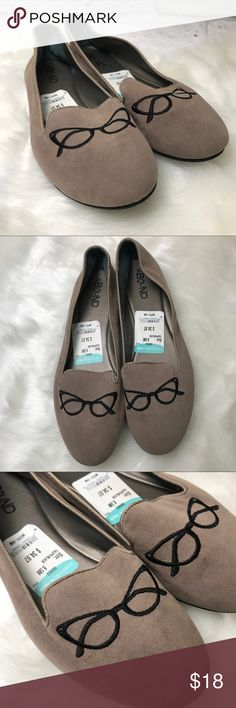 Soft Brown Bespectacled Flats The most adorable flats you'll find. I read the size wrong when I ordered and cried. I WISH they would fit. I love them to pieces. •Soft fabric •Embroidered glasses •Brand NEW Abound Shoes Flats & Loafers