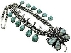 Gene Natan, Squash Blossom Necklace, Morenci Turquoise, Silver, Navajo, 19