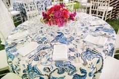 Southern wedding - blue and white floral tablecloths at a pink and navy preppy wedding. Wedding Tablecloths, Wedding Linens, Floral Wedding, Wedding Blue, Blue White Weddings, Tent Reception, Wedding Reception, Floral Tablecloth, Beautiful Dining Rooms