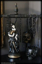 Exhilarating Jewelry And The Darkside Fashionable Gothic Jewelry Ideas. Astonishing Jewelry And The Darkside Fashionable Gothic Jewelry Ideas. Annabel Lee, Bracelet Display, Jewellery Display, Diy Jewelry For Beginners, Custom Jewelry, Unique Jewelry, Wood Bracelet, Angel Wing Earrings, Jewelry Stand