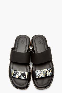 MCQ ALEXANDER MCQUEEN Black & Grey Marbled Accent Slide Sandals