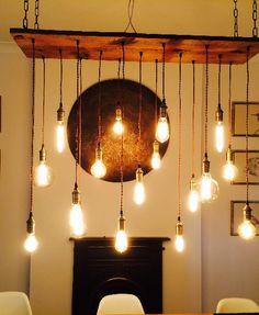 Reclaimed Wood Chandelier - 17 Pendants - Customizable – Hangout Lighting