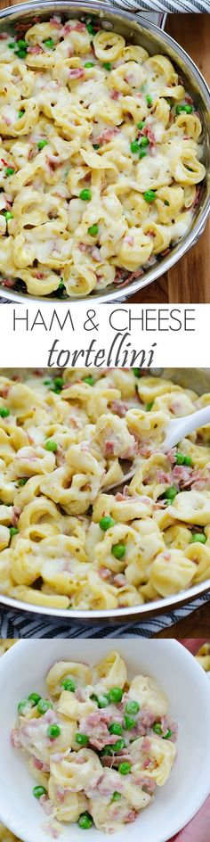 This Ham and Cheese Tortellini will become your family's new favorite dinner! This dish is so incredible and comforting. Loaded with ham, peas and cheese-filled tortellini- it is a sure winner for lunch or dinner! When I whi Pasta Dishes, Food Dishes, Ham Pasta, Food Food, One Pot Meals, Easy Meals, Healthy Cheap Meals, Easy College Meals, Healthy Family Meals