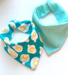 A personal favorite from my Etsy shop https://www.etsy.com/listing/256257981/dippy-eggs-baby-burpee-bandana-scarf-bib