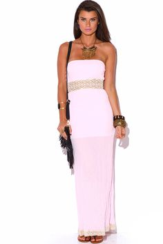 SUDDENLY SUMMER | light pink crochet trim cotton gauze strapless summer resort maxi sun dress - 1015store.com