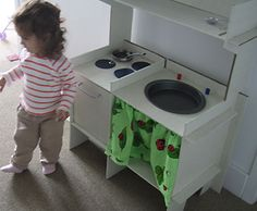 Play kitchen made from cardboard