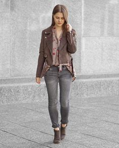 A Little Detail - Suede Jacket // Floral Blouse // Grey Skinny Jeans // Brown Ankle Boots