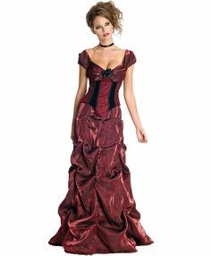 Victorian Bustle Skirt Saloon Girl Assymetrical Satin Steampunk LARP
