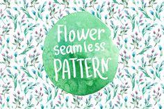 Watercolor seamless flower pattern. by katyabuslaeva on @creativemarket