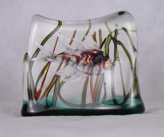 Design Classic from Gino Cenedese! Generally 3 sizes. This piece is a small aquarium. Cenedese block glass aquarium with single fish.Possibly Lion fish  Dimensions Height: 8cm x Length:11cm x Depth: 3cm