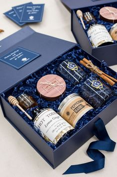 CLIENT GIFTS// Navy and kraft Los Angeles inspired client appreciation gift boxes custom designed for professional soccer franchise clients, curated by Marigold & Grey.  Image: Lissa Ryan  #clientgifts #professionalgifts #artisangiftbox
