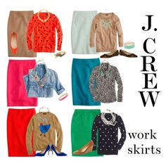 """J. Crew work skirts"" by elizabeth-noreen on Polyvore"