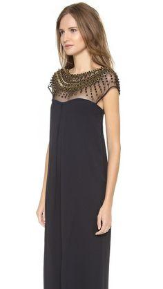 temperley london crystal cap sleeve gown.