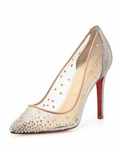X1TLN Christian Louboutin Body Strass Mesh Red-Sole Pump, Grenadine