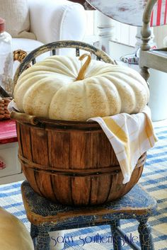 Savvy Southern Style: Fall Around the Sunroom / love the plump white pumpkin stuffed into a basket look! Autumn Decorating, Pumpkin Decorating, Decorating Ideas, Harvest Time, Fall Harvest, Harvest Moon, White Pumpkins, Fall Pumpkins, Savvy Southern Style