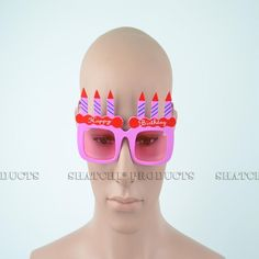 """Novelty """"Happy Birthday"""" glasses with added candles and pink tinted lenses. Novelty Sunglasses, Pink Happy Birthday, Cool Glasses, Pink Candles, Party Accessories, Some Fun, Fancy Dress, Lenses, Whimsical Dress"""