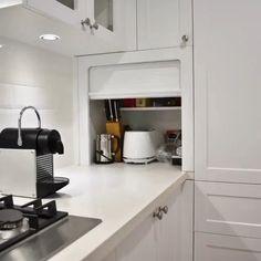 Kitchen Countertop Organization, Kitchen Appliance Storage, Kitchen Pantry Design, Modern Kitchen Design, Interior Design Kitchen, Corner Kitchen Cabinets, Appliance Cabinet, Appliance Garage, Kitchen Cabinet Layout