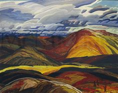 Franklin Carmichael - Autumn, 1940 oil on hardboard x 122 cm Anonymous Donor McMichael Canadian Art Collection Tom Thomson, Emily Carr, Group Of Seven Artists, Group Of Seven Paintings, Canadian Painters, Canadian Artists, Landscape Art, Landscape Paintings, Franklin Carmichael