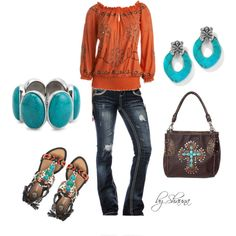 custom made burnt orange peasant top with turquoise accessories, created by shauna-rogers on Polyvore