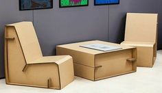 10 Genius DIY Cardboard Furniture Projects - Get Inspired! Cardboard Chair, Diy Cardboard Furniture, Cardboard Box Crafts, Paper Furniture, Cardboard Design, Recycled Furniture, Furniture Projects, Furniture Making, Home Furniture