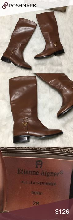 Etienne Aigner Brown Leather Riding Boots Sz 7 Etienne Aigner Brown Leather Riding Boots Sz 7 in excellent gently used condition. Great for all occasions! Etienne Aigner Shoes Heeled Boots