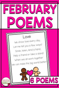 Are you looking for poems for a Poem of the Week routine? This pack has 6 poems to choose from for the month of February. Includes daily activities and a poetry journal cover. Excellent for shared reading, repeated reading, poetry station, and more! 1st Grade Activities, Reading Activities, Literacy Activities, Winter Activities, High School Classroom, 2nd Grade Classroom, Reading Resources, Classroom Resources, Poetry Journal