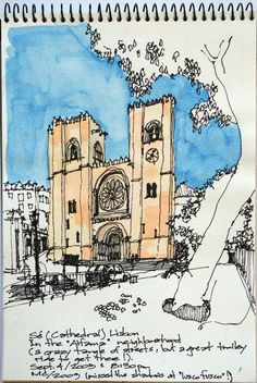 Lisbon, Cathedral (Se) | Flickr - Photo Sharing! Notebook Sketches, Art Sketches, Moleskine, Portugal, Hand Sketch, Landscape Drawings, Urban Sketchers, Elements Of Design, Art Journal Inspiration