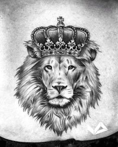 937bfe976d865 Lion back of the neck tattoo Lion Tattoo With Crown, Lion Back Tattoo, Lion