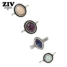 ZIVangela 4Pcs / Set Fashion Retro Bohemian Color Stone Ring Vintage Steampunk Anillos Knuckle Rings For Women Boho Jewelry #Affiliate