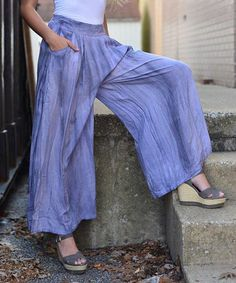 Look at this #zulilyfind! Purple Tie-Dye Palazzo Pants by SoHo Chick #zulilyfinds