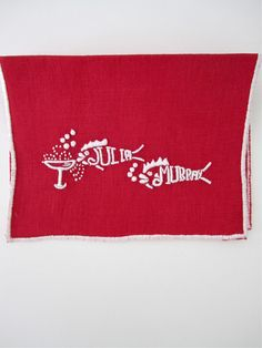 """They drink like fish"" Cocktail Napkins- Red & White by Julia B.  from Julia B. Custom Linens"