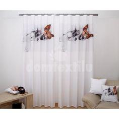 Biely záves do izby so spiacimi psíkmi v perine Teak, Curtains, Shower, Home Decor, Insulated Curtains, Homemade Home Decor, Blinds, Rain Shower Heads, Draping