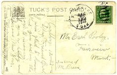 Free Vintage Postcard Clip Art: Vintage Postcard Back Image with Handwritten Message in Pencil- (ASSORTED)